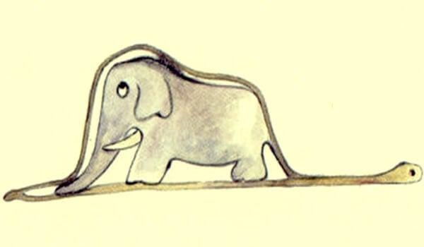 elefante dentro de boa para simbolizar el pensamiento lateral