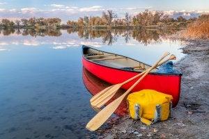 Canoa con palas y un bolso