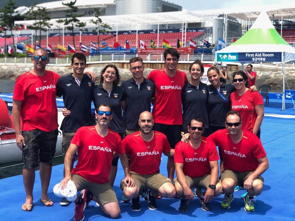 El equipo español en el Campeonato Mundial de Natación 2019.