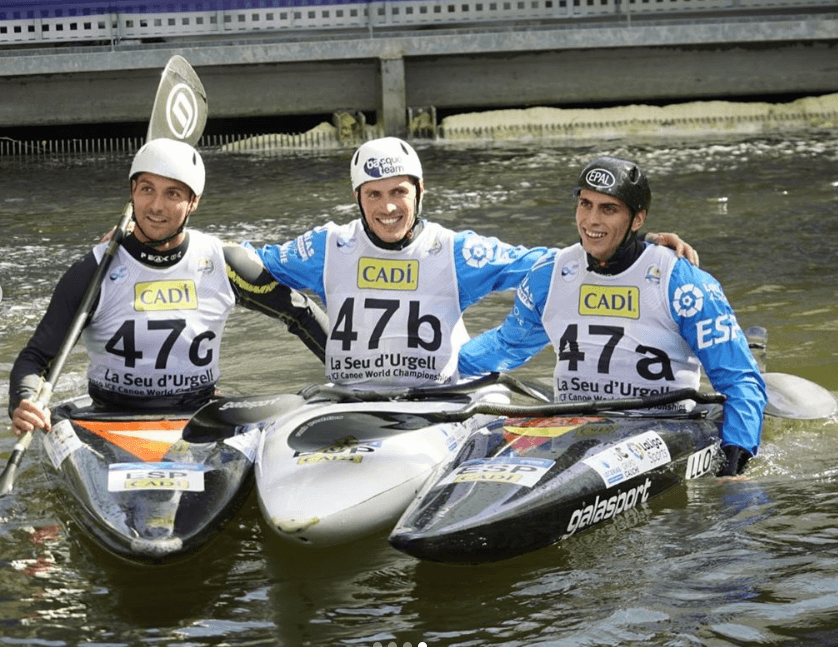 Equipo español de eslalon en el Mundial de Aguas bravas 2019