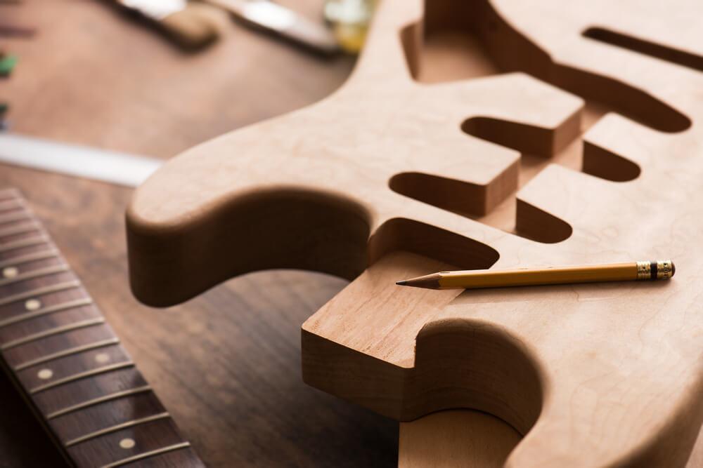 Caja de una guitarra eléctrica
