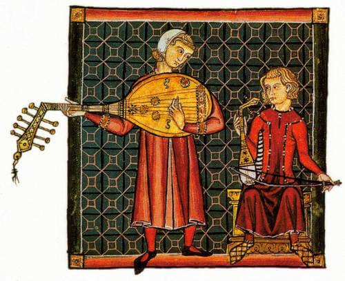 Trovador con un instrumento de cuerda pulsada